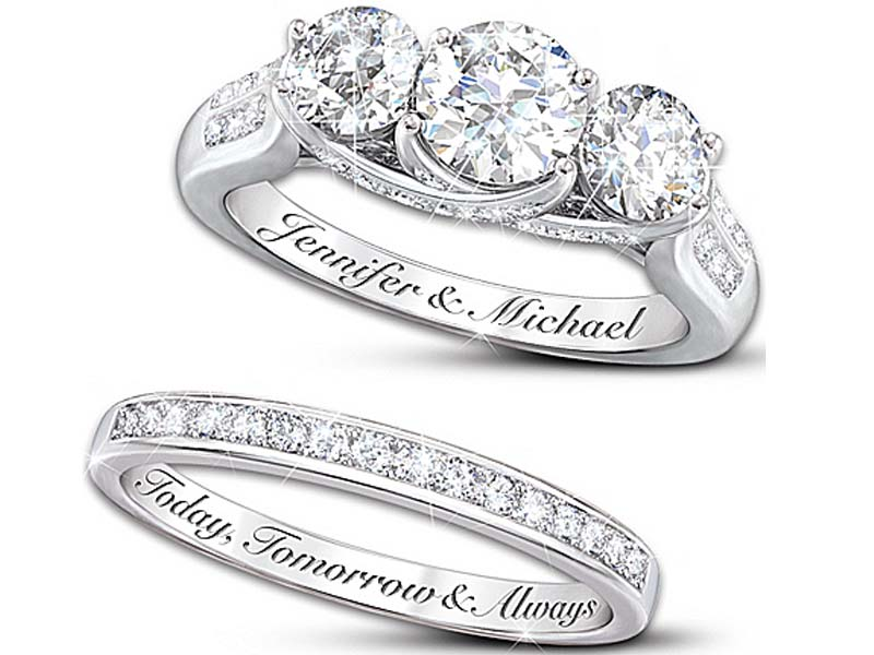 2 Engraved engagement rings